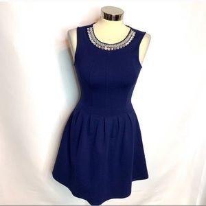 Monteau rhinestone collar dress